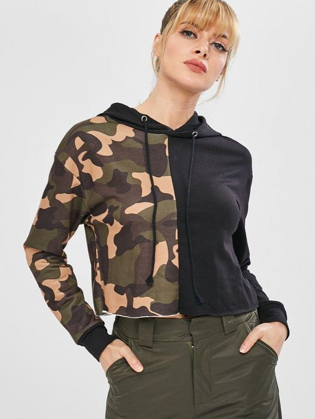 WOMEN Camo Color Block Cropped Pullover Hoodie - Acu Camouflage M