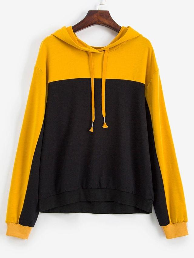 WOMEN Colorblock Drop Shoulder Drawstring Hoodie - Multi L