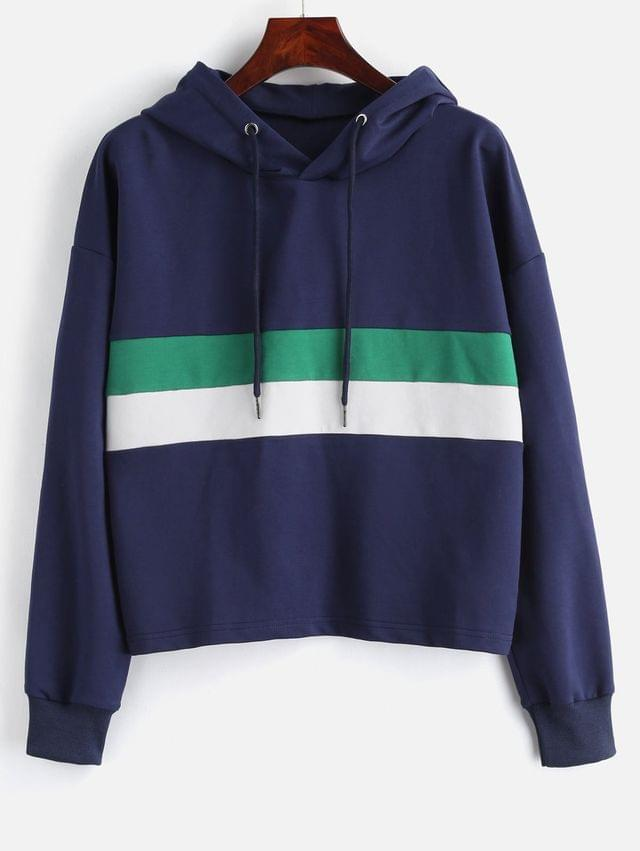 WOMEN Loose Drawstring Color Block Hoodie - Midnight Blue M