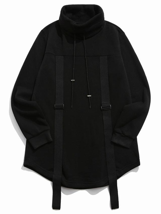 MEN Turtleneck Fleece Drawstring Gothic Sweatshirt - Black 2xl