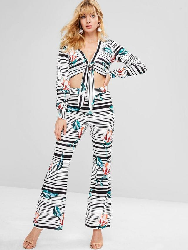 WOMEN Striped Plunge Top And Flare Pants Set - Multi Xl