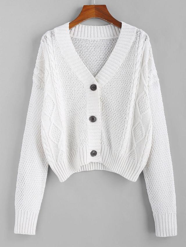 WOMEN Button Up Cable Knit Cardigan - Cool White S