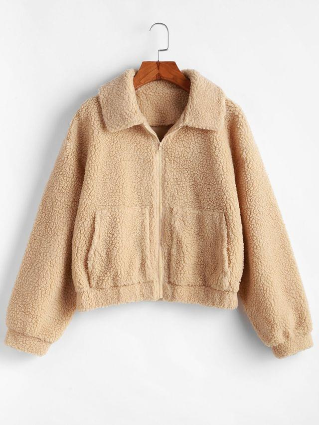 WOMEN Zip Up Drop Shoulder Fluffy Faux Shearling Coat - Light Khaki Xl