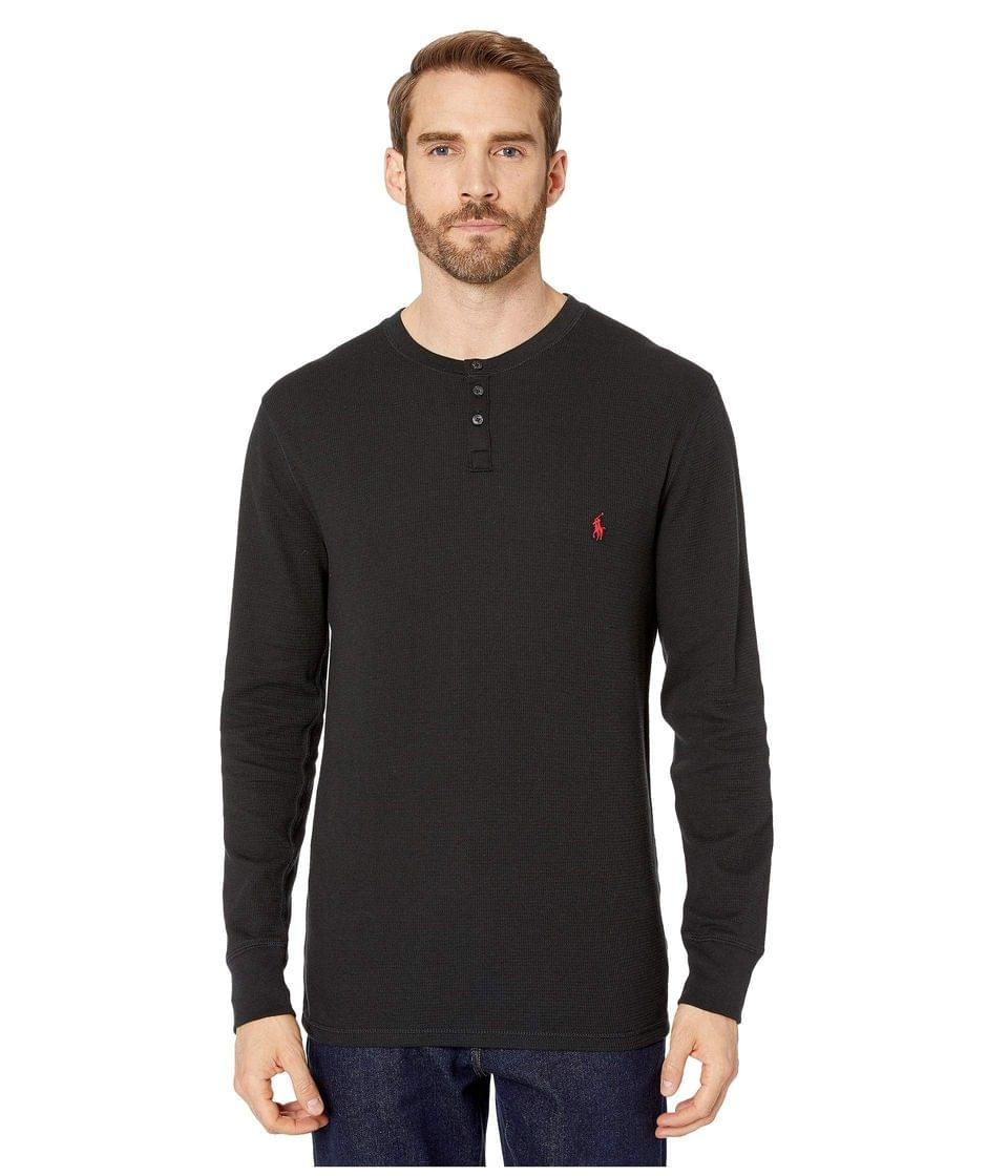 Men's Waffle Long Sleeve Henley. By Polo Ralph Lauren. 45.00. Style Polo Black/RL2000 Red Pony Print.