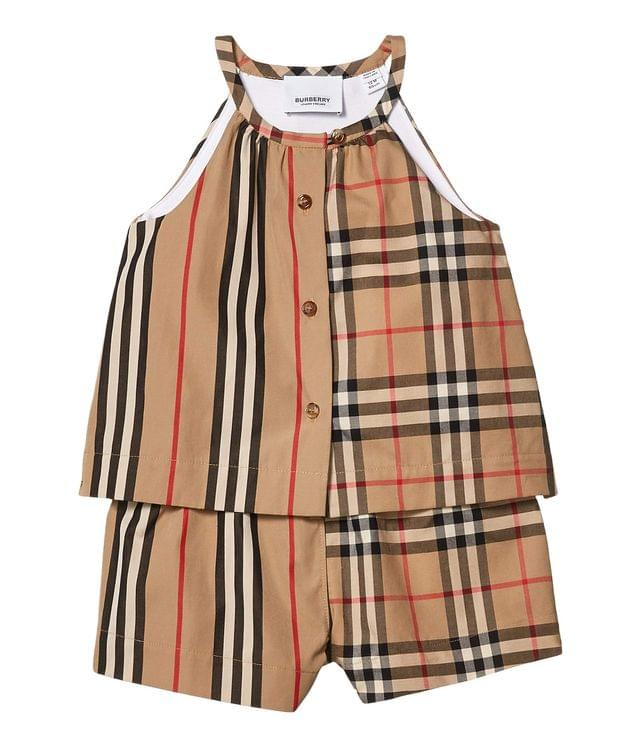 Girl's Alice Jumpsuit (Infant/Toddler). By Burberry Kids. 240.00. Style Archive Beige IP Stripe.