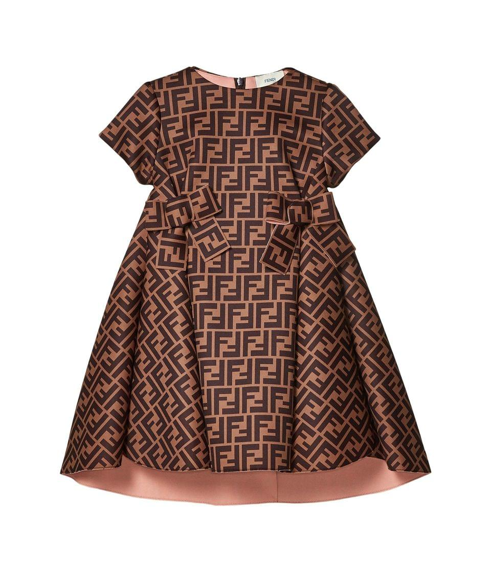 Girl's Neoprene Dress with Ruffle Bottoms and Bows (Little Kids). By Fendi Kids. 693.00. Style Brown Logo.