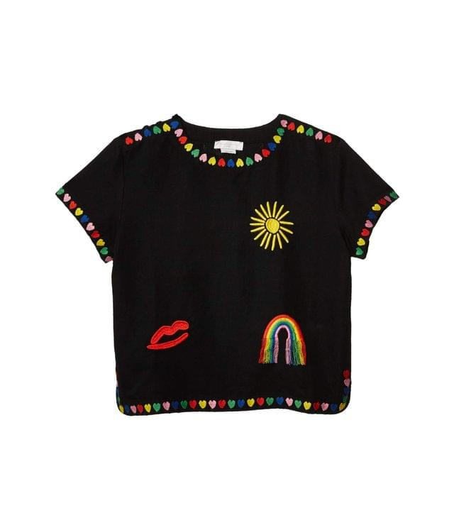Girl's Linen Blouse with Embroidered Hearts (Toddler/Little Kids/Big Kids). By Stella McCartney Kids. 136.00. Style Black.