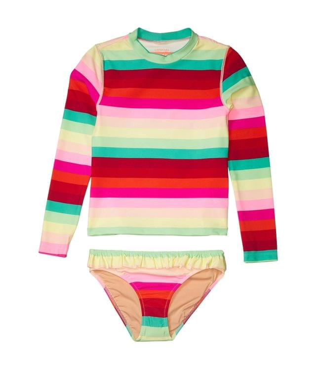 KIDS Long Sleeve Multi Stripe Ruffle Bottoms Rashguard Set (Toddler/Little Kids/Big Kids). By crewcuts by J.Crew. 59.50. Style Red/Green Multi.