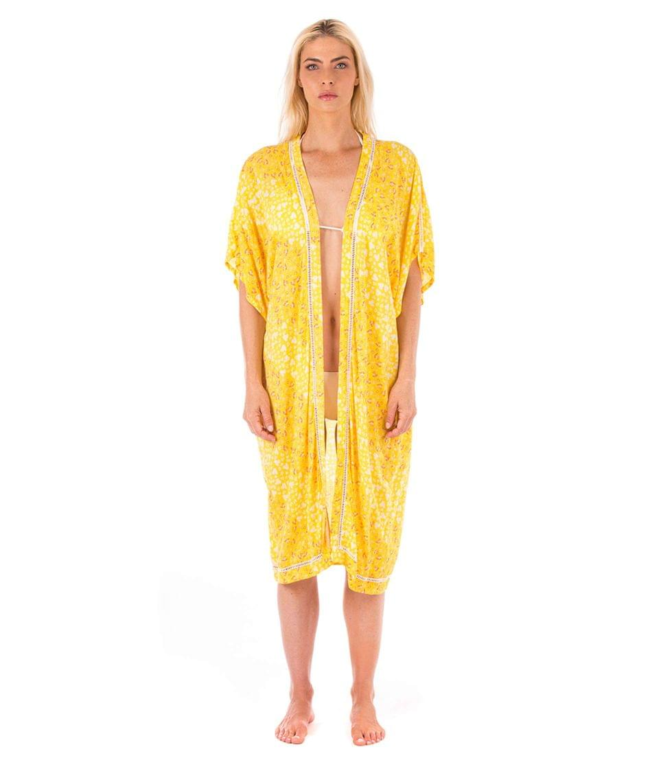 Women's Floral Kimono w/ Laddering. By Plush. 132.00. Style Yellow.