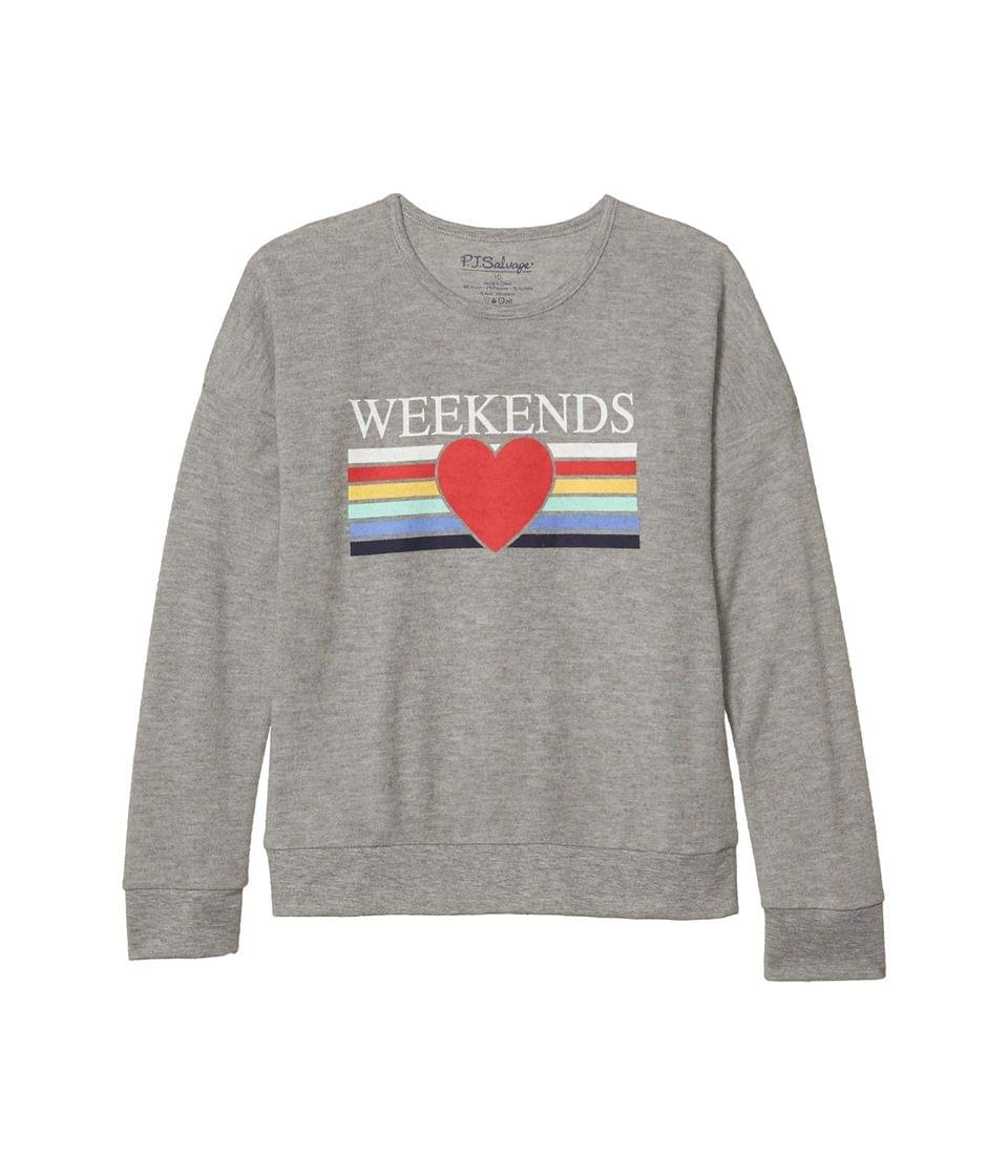 Girl's Love For The Weekend Top (Toddler/Little Kids/Big Kids). By P.J. Salvage Kids. 33.00. Style Heather Grey.