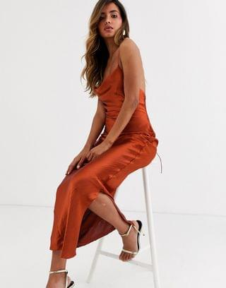 WOMEN cami maxi slip dress in high shine satin with lace up back