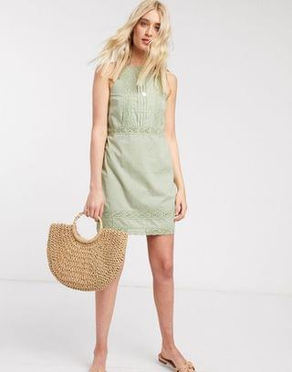 WOMEN Tall lace insert and dobby mini sundress in sage green