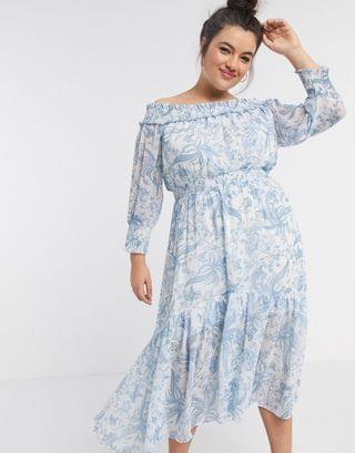 WOMEN Ever New Curve off shoulder printed maxi dress with drop hem in blue print