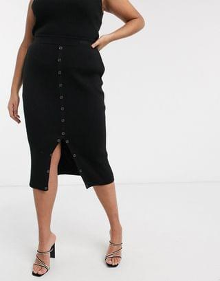 WOMEN Fashionkilla Plus knitted midi bodycon skirt with buttons two-piece in black