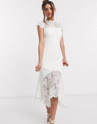 WOMEN Ever New Petite lace hi-low maxi dress with bow back in white