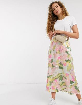 WOMEN Selected Femme midi skirt with side split in waterlily floral print