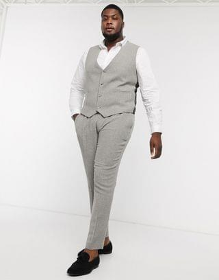 Plus wedding super skinny suit suit vest in gray wool blend micro houndstooth