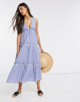 WOMEN Tall button front tiered midi sundress in stripe