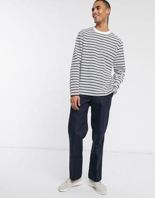 Weekday Christian striped long sleeve top in white