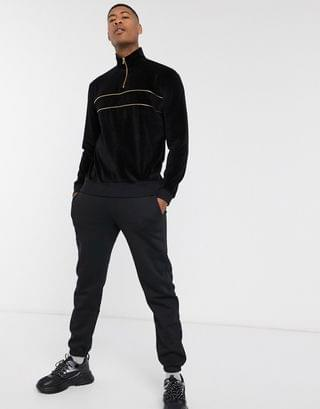Tall velour sweatshirt with half zip in black with gold details