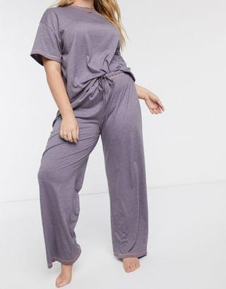 Women's Curve mix & match jersey pyjama pants with overlock