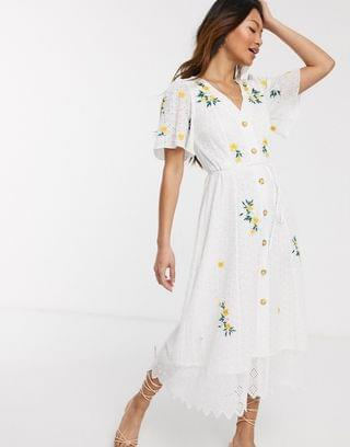 WOMEN French Connection button front embroidered broderie midi dress in summer white