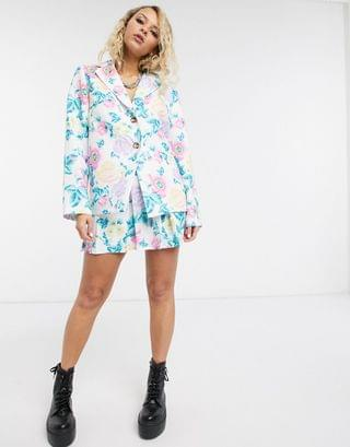 WOMEN Reclaimed Vintage inspired blazer two-piece in floral print