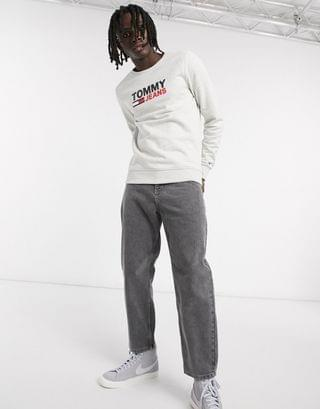 Tommy Jeans corp chest logo crew neck sweatshirt slim fit in gray marl