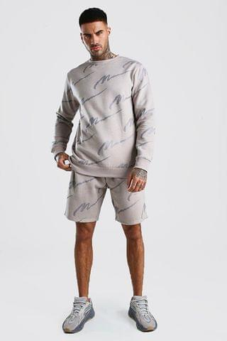 Men's All Over MAN Printed Sweater Short Tracksuit