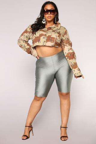 WOMEN Curves For Days Biker Shorts - Silver