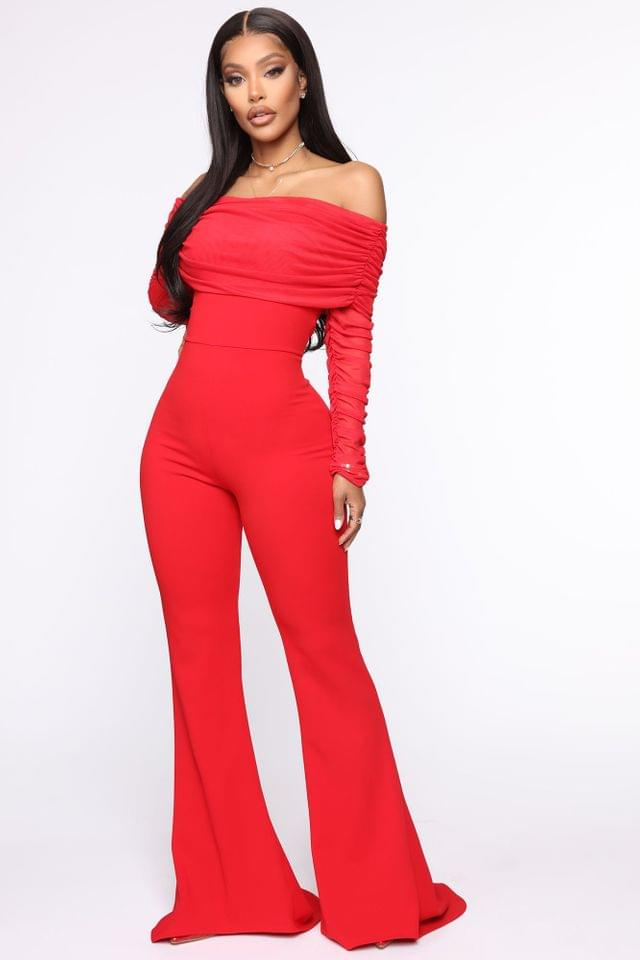 WOMEN Kendall Ruched Jumpsuit - Red
