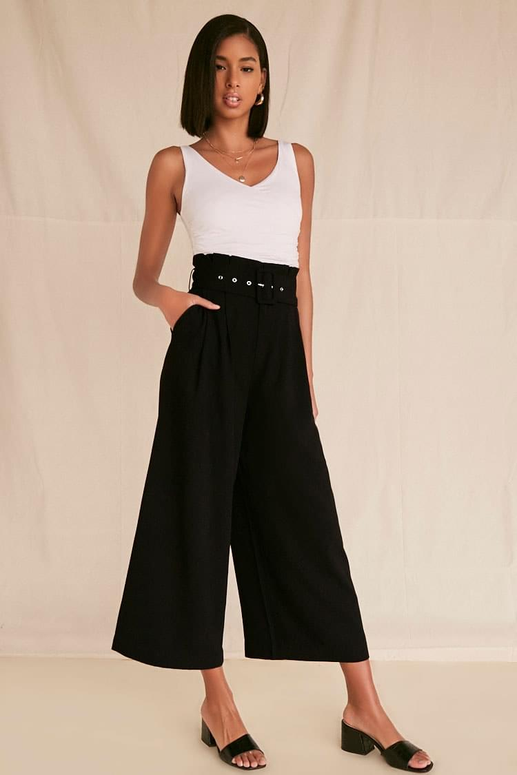 Women's High-Rise Belted Palazzo Pants