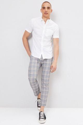 MEN Glen Plaid Slim-Fit Trousers