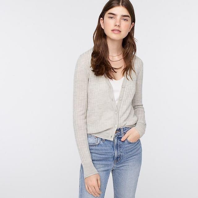 Women's Ribbed V-neck cardigan sweater in Re-Imagined Wool