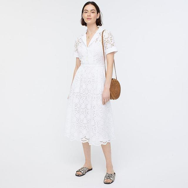 Women's Short-sleeve A-line dress in embroidered eyelet