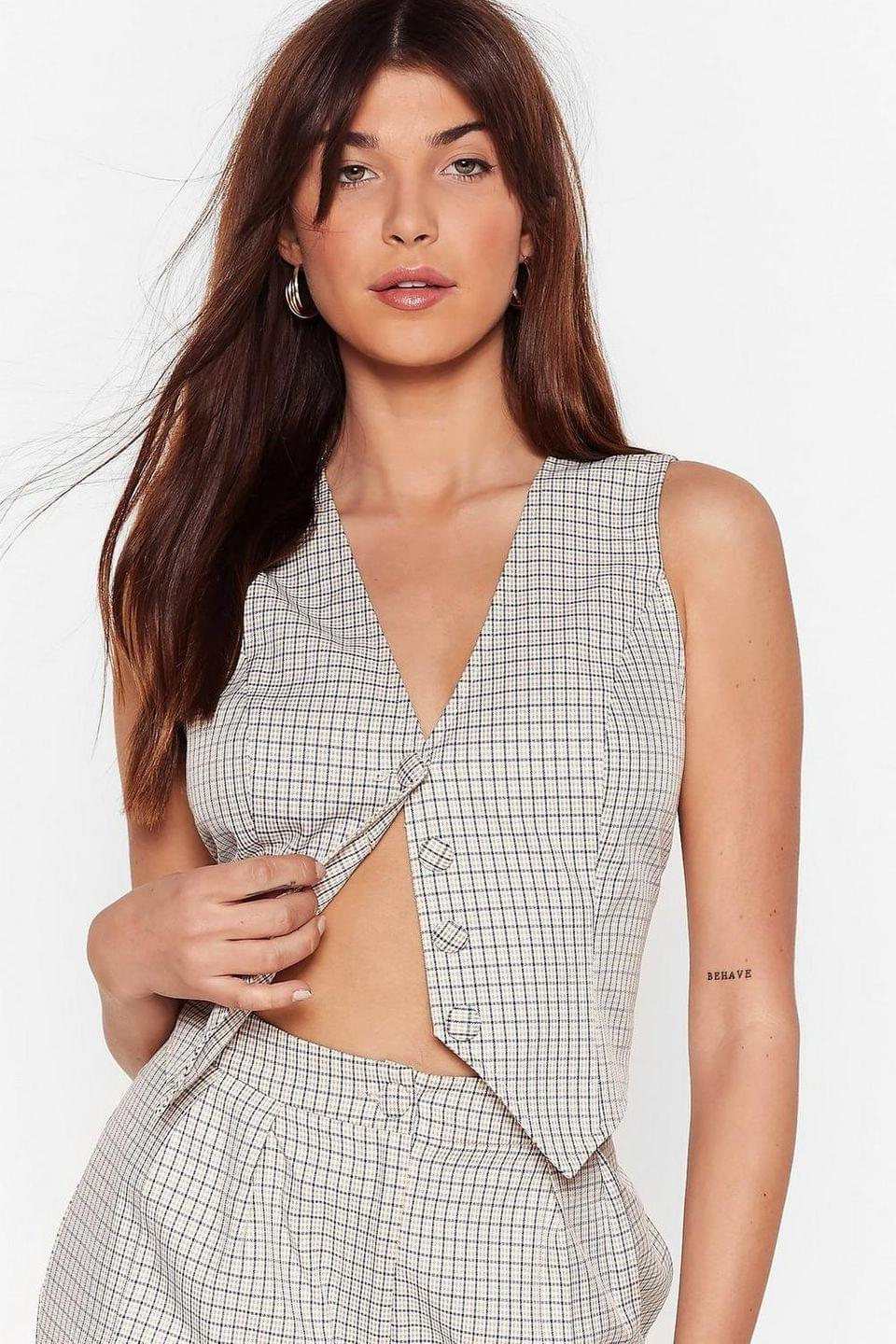 Women's Tailored to You Check Button-Down Vest