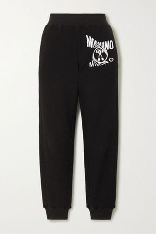 WOMEN MOSCHINO Printed cotton-blend terry track pants