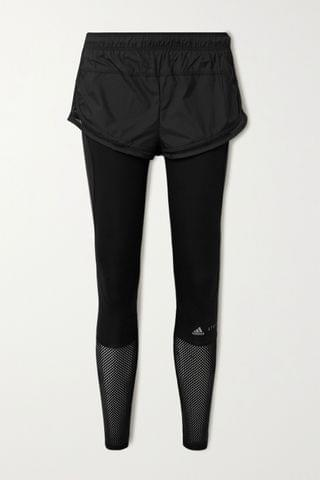 WOMEN ADIDAS BY STELLA MCCARTNEY Essentials layered mesh-trimmed shell and stretch leggings