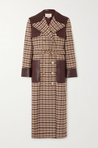 WOMEN GUCCI Belted leather-paneled checked wool-blend trench coat