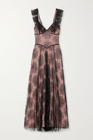 WOMEN FLEUR DU MAL Pleated embroidered tulle maxi dress