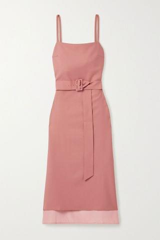 WOMEN ROKH Belted twill and satin-crepe midi dress