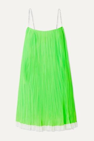 WOMEN THE MARC JACOBS Crystal-embellished lace-trimmed pleated mesh mini dress