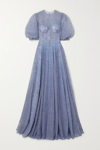 WOMEN COSTARELLOS Swarovski crystal-embellished embroidered tulle gown