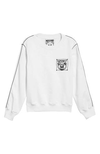 WOMEN Moschino Teddy Bear Logo Embroidered Cotton Sweatshirt