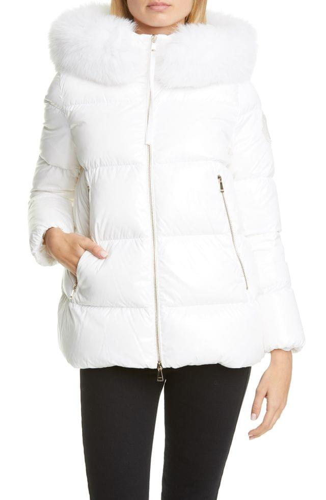 WOMEN Moncler Givre Chinese New Year Down Puffer Jacket with Removable Genuine Fox Fur Trim