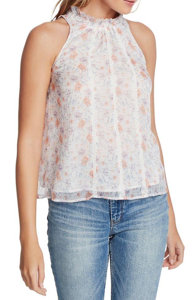 WOMEN 1.STATE Woodland Gardens Lace Trim Blouse
