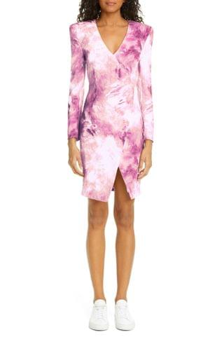 WOMEN Moschino Paint Print Long Sleeve Faux Wrap Dress