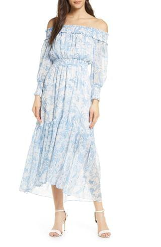 WOMEN Ever New Annie Smocked Off the Shoulder Long Sleeve Maxi Dress