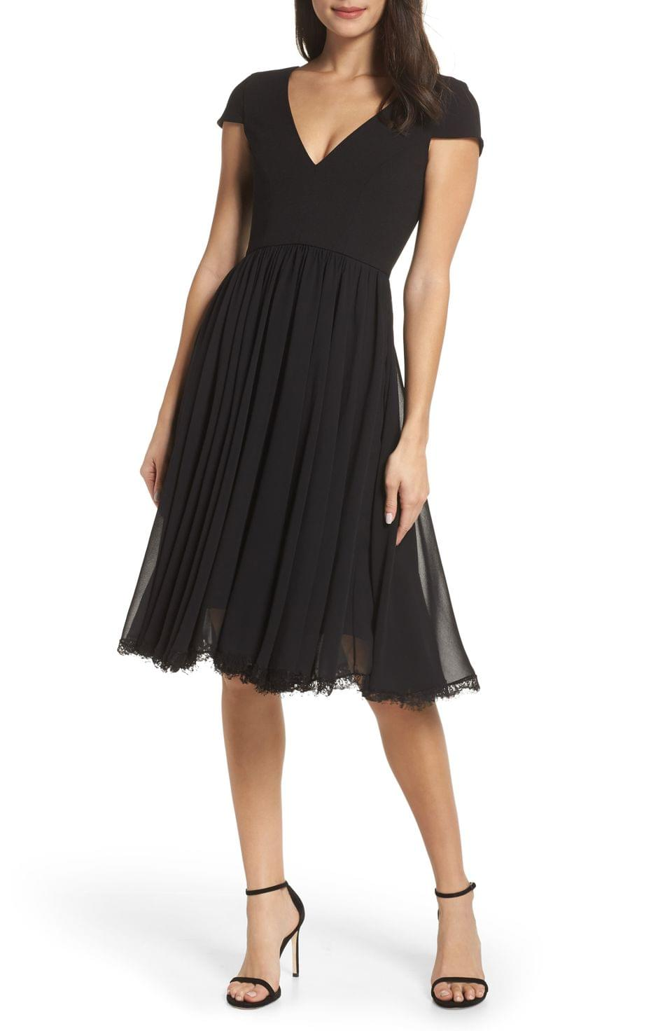 Women's Dress the Population Corey Chiffon Fit & Flare Dress