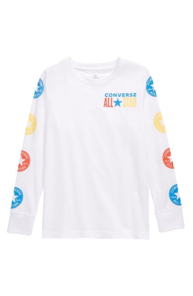 KIDS Converse All Star Patch Long Sleeve Graphic Tee (Big Boy)
